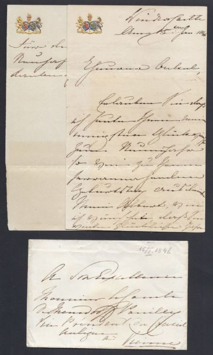 Queen Victoria Signed New Year's Letter & Envelope Windsor Castle 1846